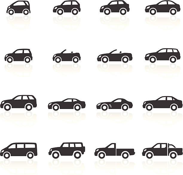 illustrazioni stock, clip art, cartoni animati e icone di tendenza di icone di automobili - auto
