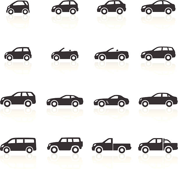 Cars Icons Car Icons - car icons representing all typically available car types, from city cars to SUV's to sports. Layered & grouped for ease of use. Download includes EPS 8, EPS 10 and high resolution JPEG & PNG files. convertible stock illustrations