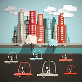 Cars in City Vector Illustration