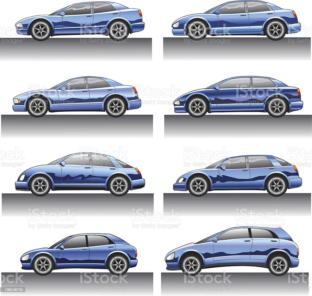 cars in side view vector art illustration