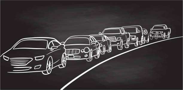Autos in Traffic Lane Tafel – Vektorgrafik