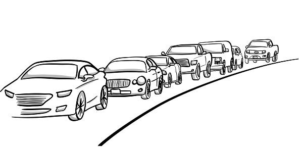 Cars In Traffic Lane