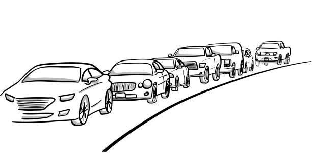 Autos in der Verkehrsspur – Vektorgrafik