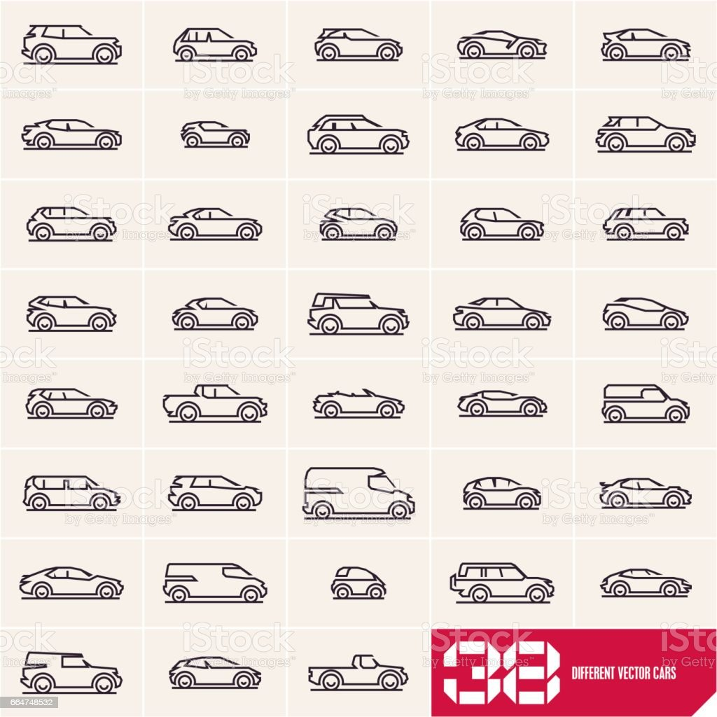 Cars line icons set, different car types linear silhouettes vector art illustration