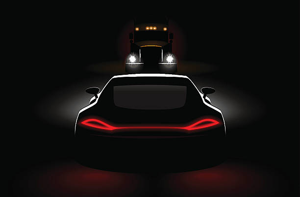 stockillustraties, clipart, cartoons en iconen met cars meeting truck accident in dark with headlights and taillights - mist donker auto