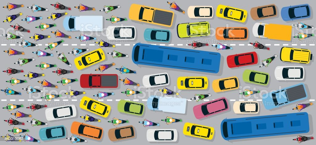Cars on Road with Traffic Jam Chaotic vector art illustration