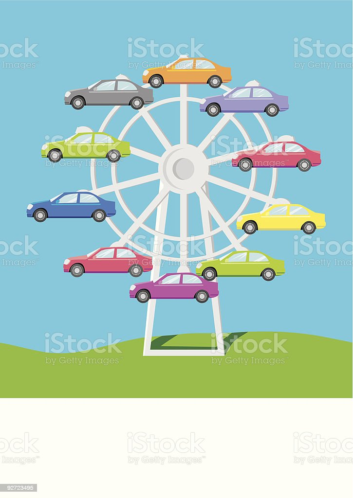 Cars on the ferris royalty-free stock vector art