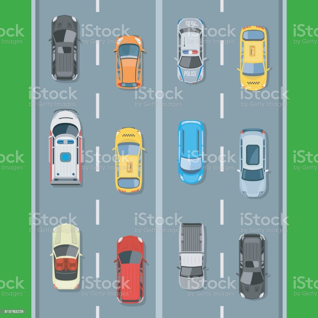 Cars on the road view from above vector illustration vector art illustration