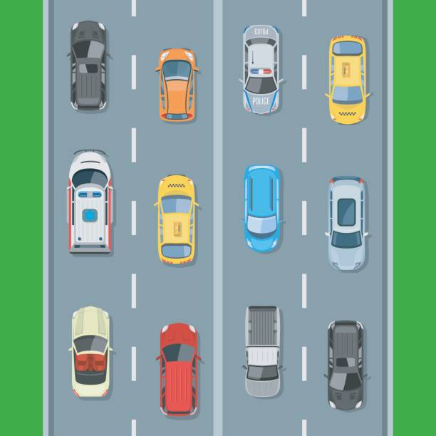 Cars on the road view from above vector illustration Cars on the road view from above vector illustration. Concept of highway traffic of cars along the road with markings. police car stock illustrations