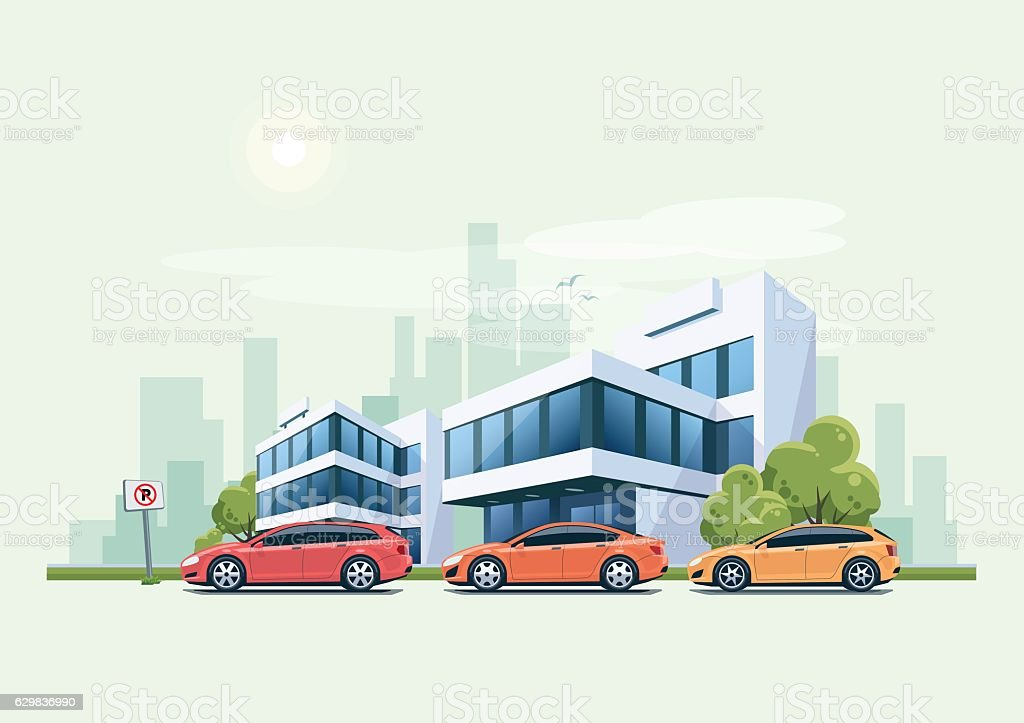 Cars Parked in front of Office Building and City Background vector art illustration