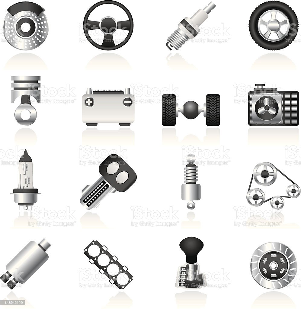 Cars parts set of icons on white background royalty-free stock vector art