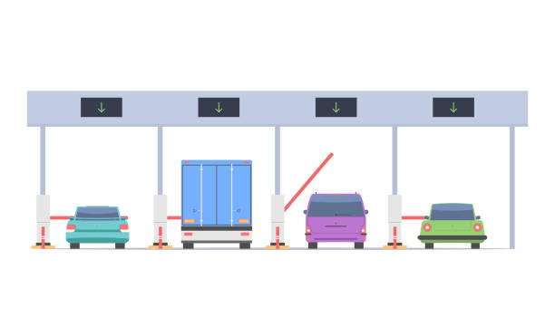 Cars passing on the toll road vector art illustration