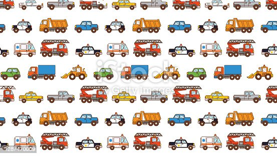 Cars pattern isolated on white background