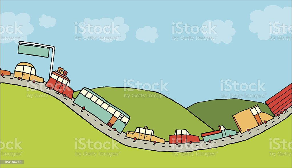 Cars queued in highway royalty-free stock vector art