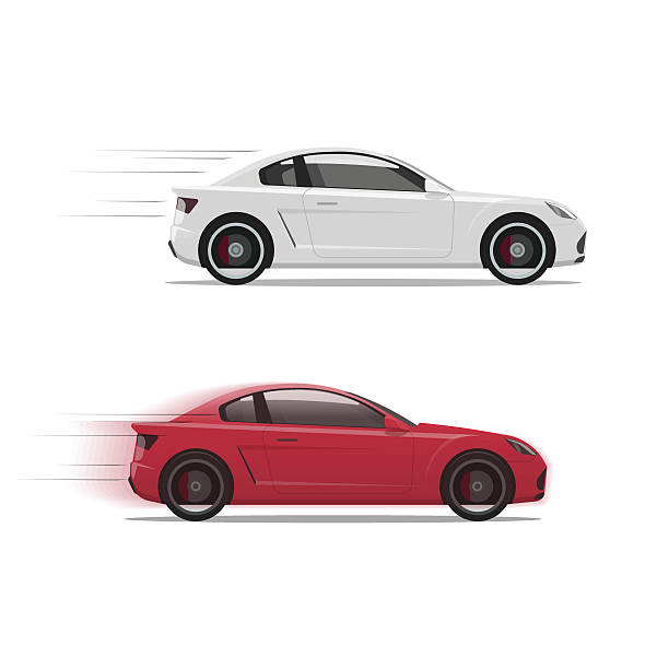 illustrations, cliparts, dessins animés et icônes de cars racing fast vector, flat auto moving on high speed - voiture blanche