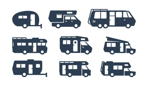 RV Cars, Recreational Vehicles, Camper Vans Silhouettes RV Cars, Recreational Vehicles, Camper Vans Silhouettes motor home stock illustrations
