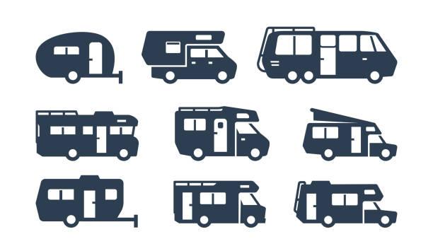 stockillustraties, clipart, cartoons en iconen met rv auto's, recreatieve voertuigen, camper vans silhouetten - caravan