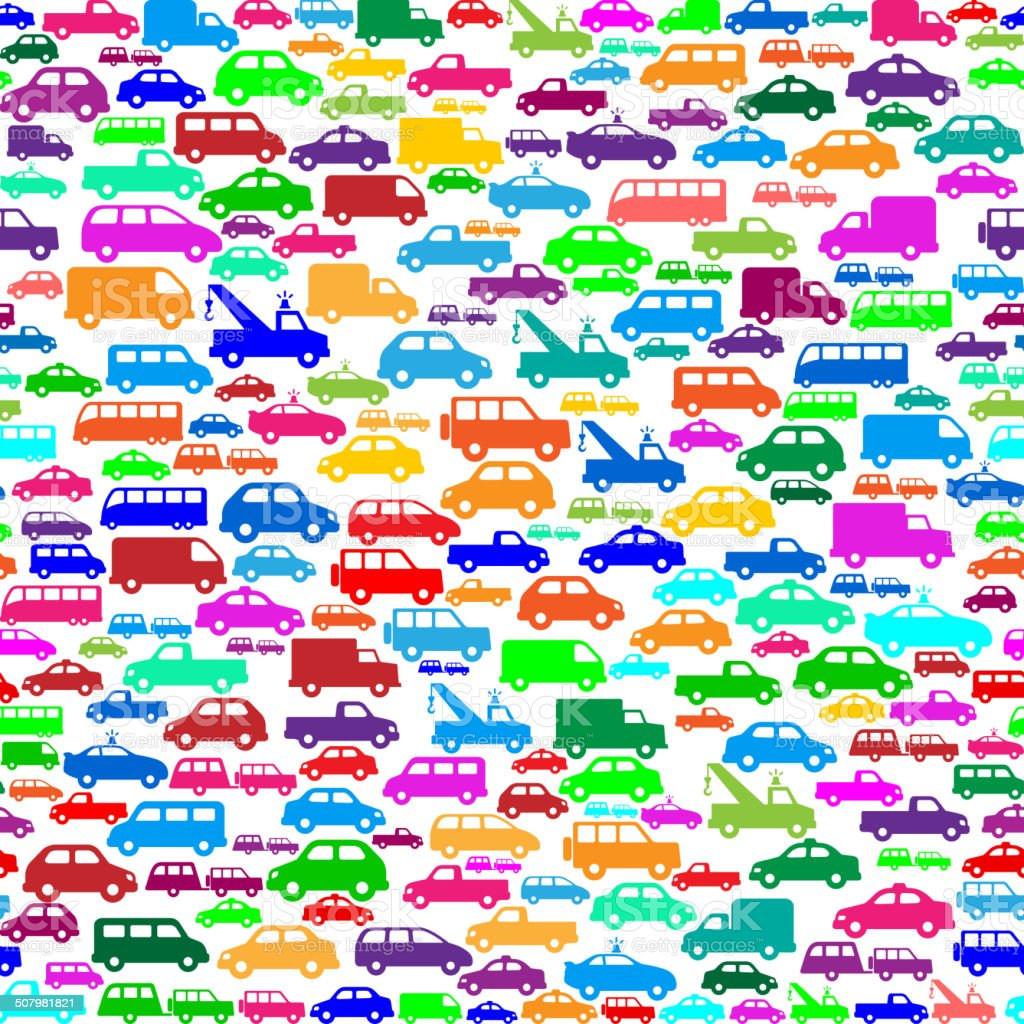 Cars royalty free vector art Pattern on Seamless Background vector art illustration