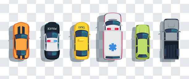 ilustrações de stock, clip art, desenhos animados e ícones de cars set from above, top view isolated. cute beautiful cartoon transport with shadows. modern urban civilian vehicle. view from the bird's eye. realistic car design. flat style vector illustration. - car view