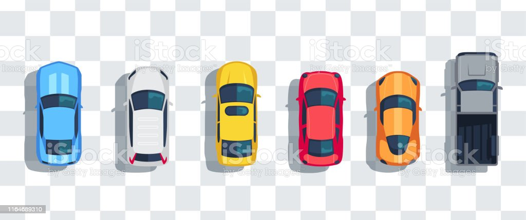 Cars set from above, top view isolated. Cute beautiful cartoon transport with shadows. Modern urban civilian vehicle. View from the bird's eye. Realistic car design. Flat style vector illustration. Cars set from above, top view isolated. Cute beautiful cartoon transport with shadows. Modern urban civilian vehicle. View from the bird's eye. Realistic car design. Flat style vector illustration. Above stock vector