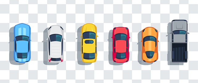 Cars Set From Above Top View Isolated Cute Beautiful Cartoon Transport With Shadows Modern Urban Civilian Vehicle View From The Birds Eye Realistic Car Design Flat Style Vector Illustration Stock Illustration - Download Image Now