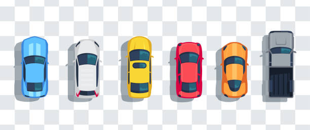illustrazioni stock, clip art, cartoni animati e icone di tendenza di cars set from above, top view isolated. cute beautiful cartoon transport with shadows. modern urban civilian vehicle. view from the bird's eye. realistic car design. flat style vector illustration. - car