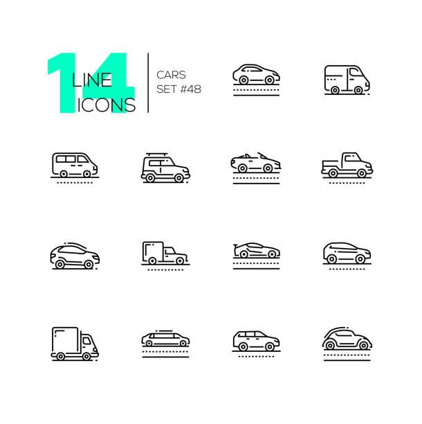 Cars - set of line design style icons Cars - set of line design style icons, pictograms isolated on white background. Sedan, minivan, minibus, cabriolet, box van, pickup, jeep, crossover, hatchback, sport, truck, wagon, limousine, retro hatchback stock illustrations