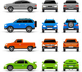 Cars side front and back icons set isolated vector illustration