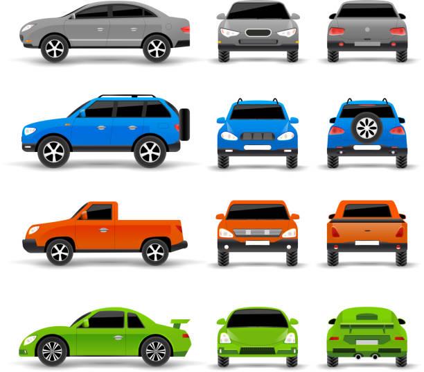 illustrazioni stock, clip art, cartoni animati e icone di tendenza di auto laterali anteriore icone posteriore - auto