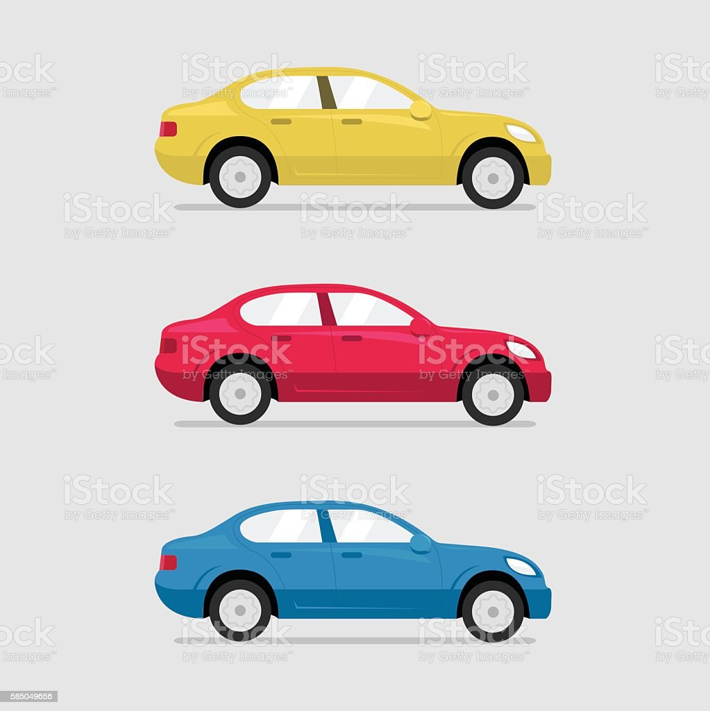 Cars side view. Vector flat illustration set
