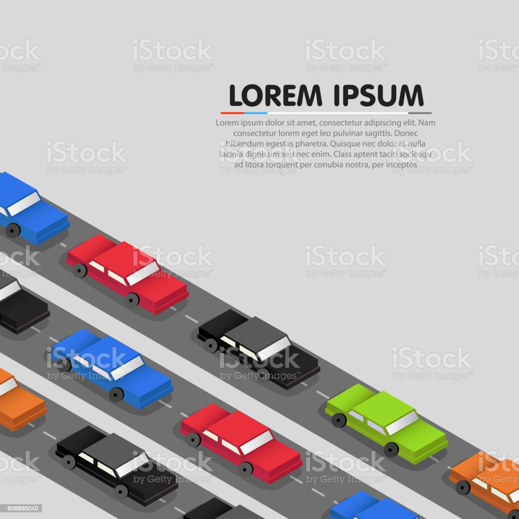 Cars standing in a traffic jam. Vector vector art illustration