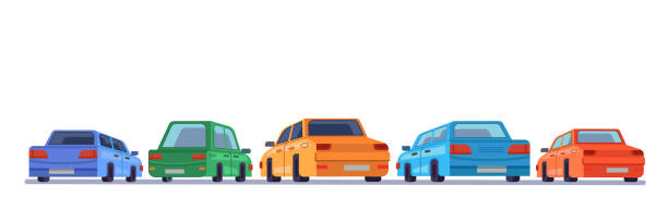 ilustrações de stock, clip art, desenhos animados e ícones de cars standing rear backs, cartoon vehicles backside on parking, vector isolated icons. cartoon automobiles or cars on parking lot facing to background with rears side - driveway, no people
