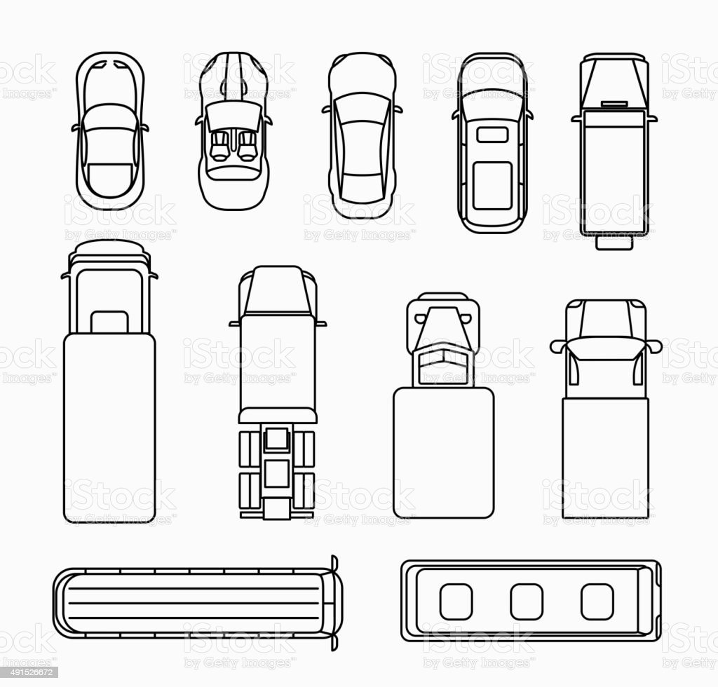 Cars thin line icons top view vector art illustration