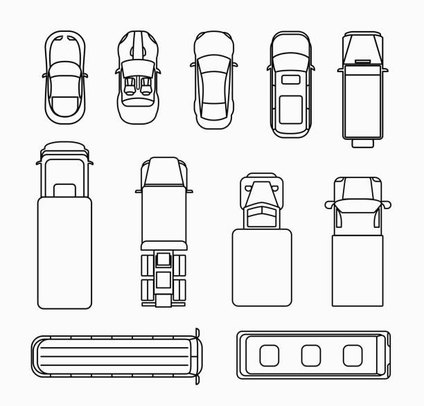 Autos, dünne Linie Symbole top view – Vektorgrafik