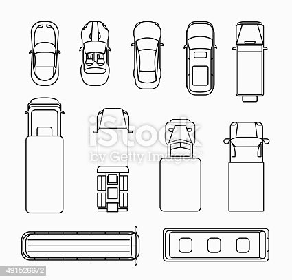 Cars Thin Line Icons Top View Stock Vector Art & More