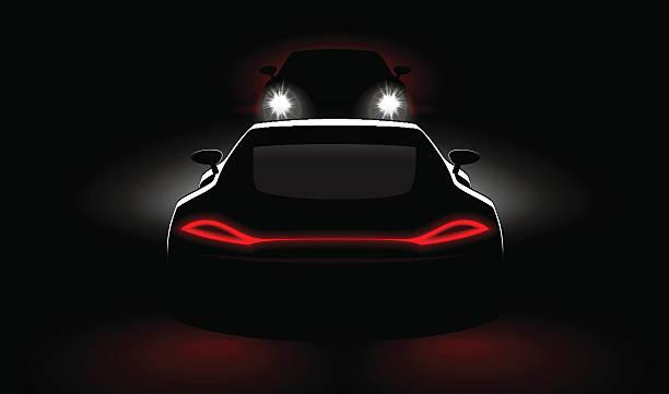 stockillustraties, clipart, cartoons en iconen met cars to meeting crash in dark with headlights and taillights - mist donker auto