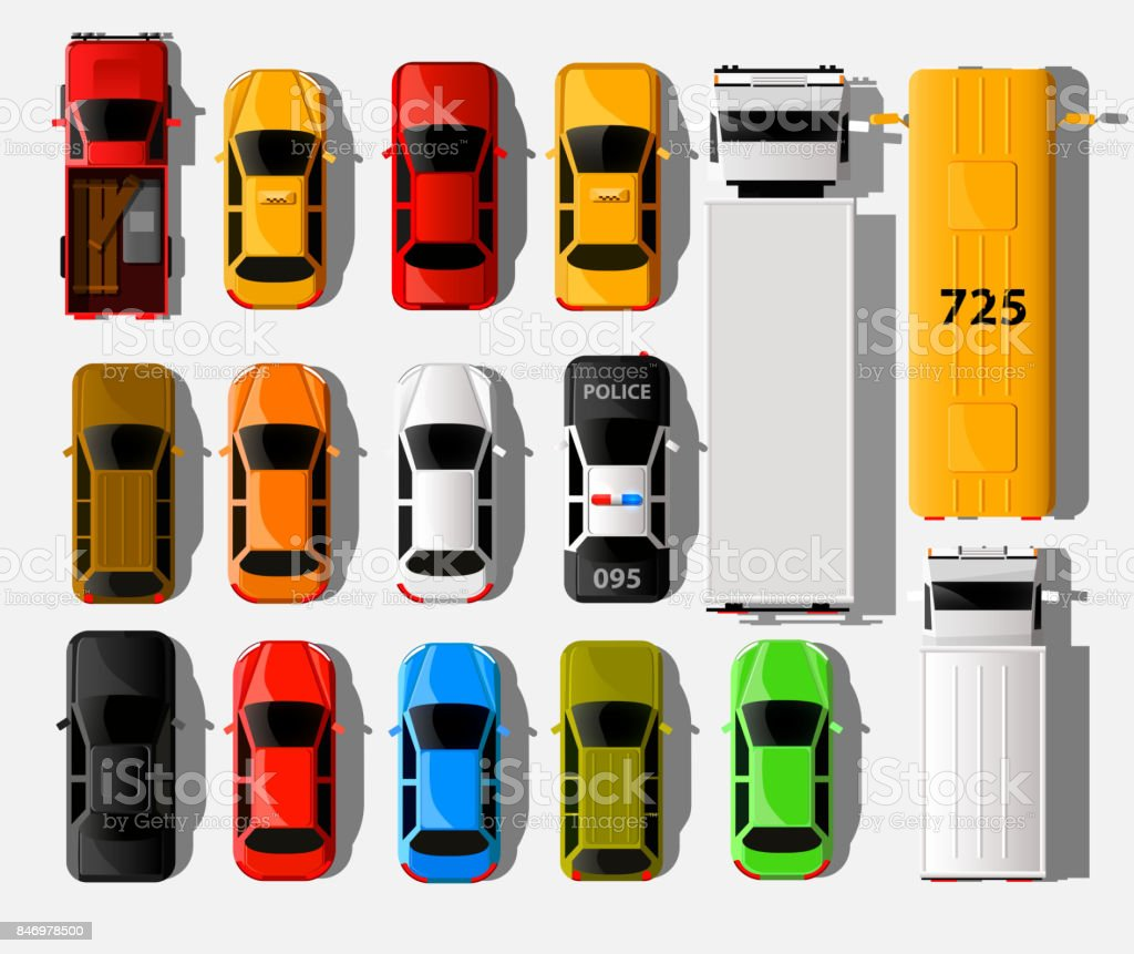 Cars Top View City Vehicle Transport Icons Set Automobile