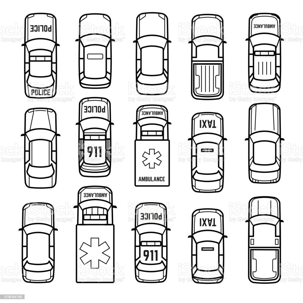 Cars top view thin line vector icons vector art illustration