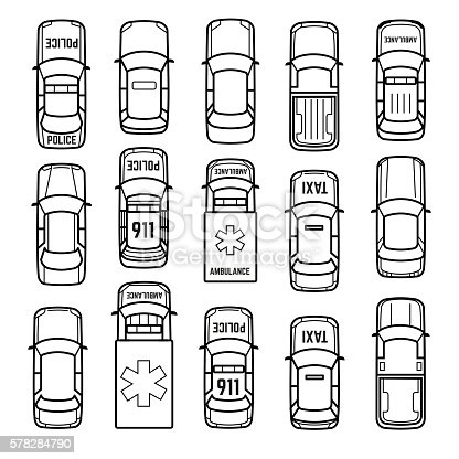 Cars Top View Thin Line Vector Icons Stock Vector Art