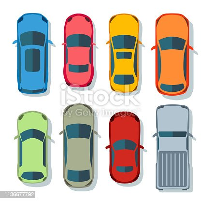 Cars top view vector flat. Vehicle transport icons set. Automobile car for transportation, auto car icon illustration isolated on whine background
