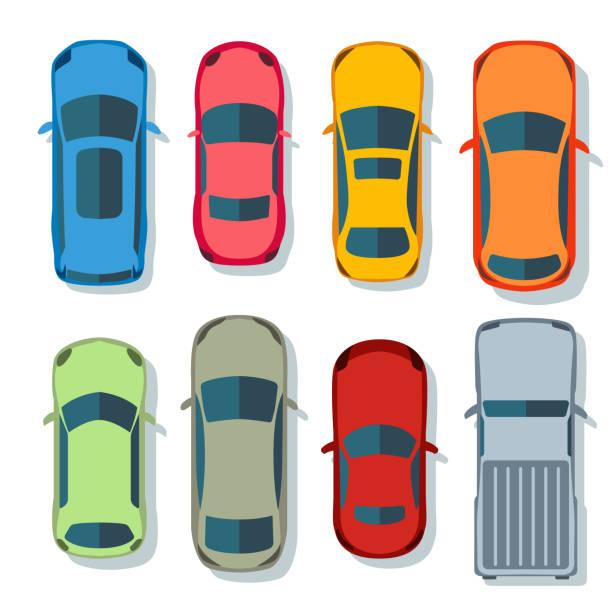autos oben ansicht vektor flach. fahrzeugtransporte symbole gesetzt. automobilauto für den transport, auto-auto-icon illustration isoliert auf dem hintergrund. - draufsicht stock-grafiken, -clipart, -cartoons und -symbole