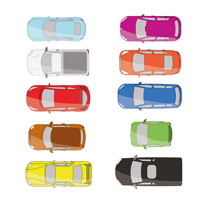 Cars top view vector flat. Vehicle transport icons set. Automobile car for transportation, auto car icon illustration isolated on whine background.