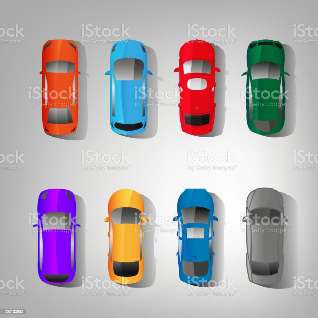 Cars top view vector art illustration