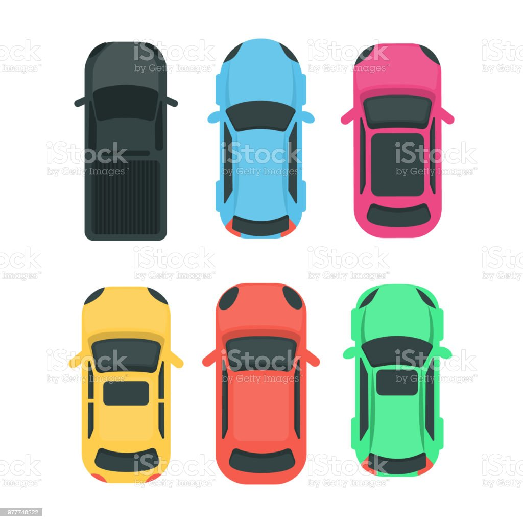 Cars top view. Cars top view. Colorful different vehicles on white. Above stock vector