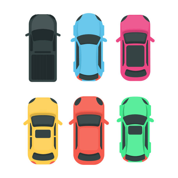 illustrazioni stock, clip art, cartoni animati e icone di tendenza di cars top view. - car