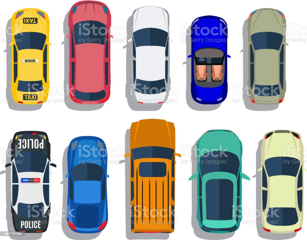 Cars top view vector vector art illustration