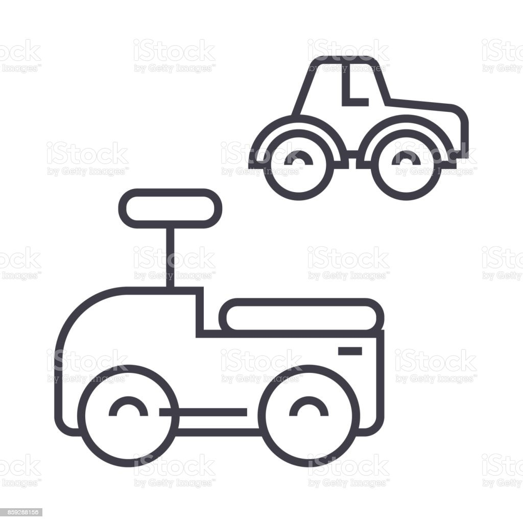 Cars Toys Vector Line Icon Sign Illustration On Background