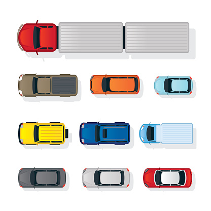 Cars Various Type Top or Above View Set