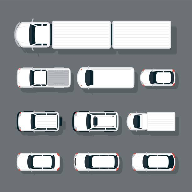 Cars Various Type Top or Above View Set in White, Automobile and Transportation overhead stock illustrations