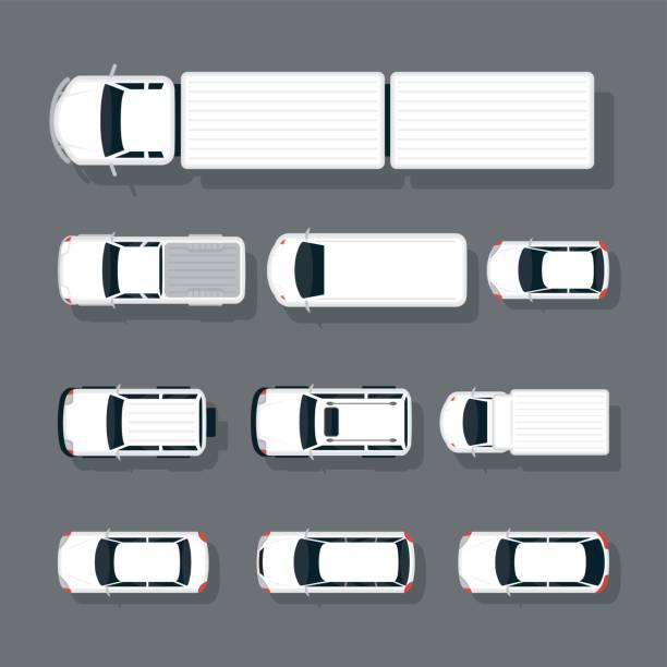 ilustraciones, imágenes clip art, dibujos animados e iconos de stock de autos varios tipo superior o por encima de vista establecer - overhead